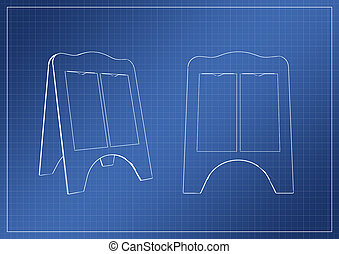 stand on paper blueprint, 3D rendering