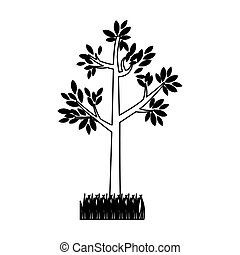 contour silhouette tree leafy with bush