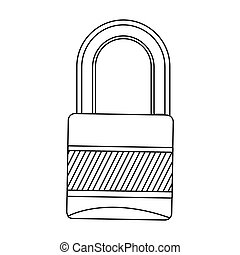 silhouette metal padlock with striped body and shackle...
