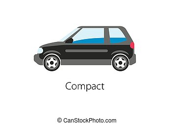 Compact car isolated on white background. Vintage car flat...