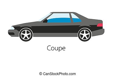 Coupe car isolated on white. Modern detailed two seat...