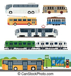 Types of buses, minibuses, railroad trains, trolleybuses,...