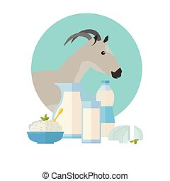 Goat Icon with Milk Products. Dairy Set - Goat icon with...