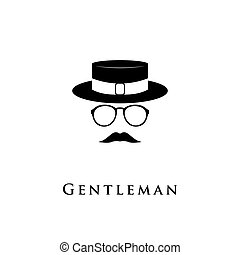 Creative logo gentleman with a mustache, hat and glasses....