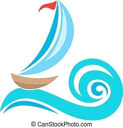 Sailing ship icon - Vector sailing ship and blue wave....