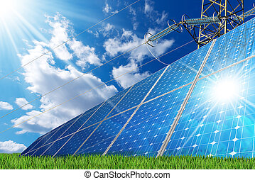 Solar Panels and a Power Line - Group of solar panels on a...