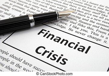 financial crisis concept with fake newspaper showing...