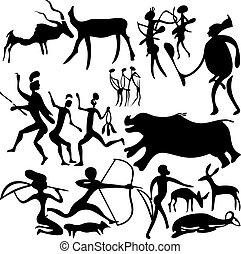 Cave painting - Cave painting on a white background Vector...