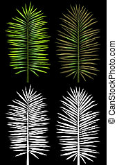 Palms leaves - Palms leaves with alpha channels on a black...