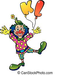 Clown with balloons - Funny clown with balloons in the form...
