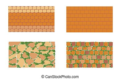 The patterns of brickwork with green grass on white background .