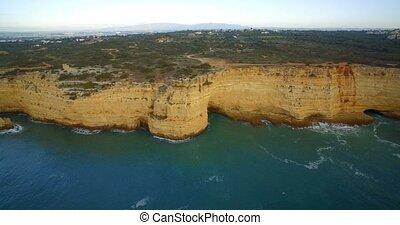 portugal, fliegendes, Luftaufnahmen,  ferragudo, linie, steil, entlang, felsformation