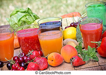 Juices and smoothies - Healthy drinks on table