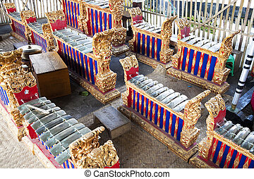 Indonesian Traditional Musical Instruments, Bali, Indonesia...