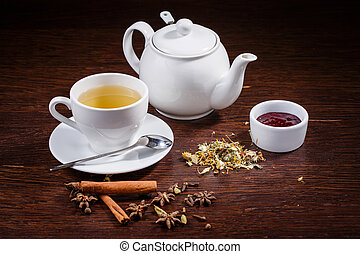 Teapot and a cup of tea