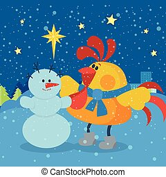 Rooster Sculpts Snowman at Christmas Eve Night - Rooster...