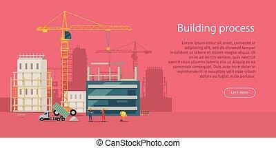 Building Process. Unfinished Building. Crane. - Building...