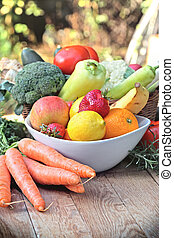 Organic fruits and vegetables