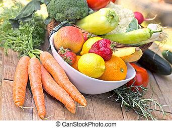 有机, 健康, 蔬菜,  -, 食物, 水果, 新鮮