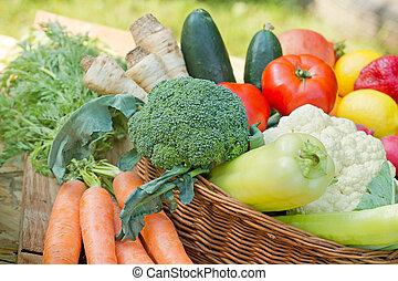 籃子, 新鮮, 蔬菜, 柳條