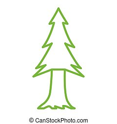 pine tree - simple thin line  pine tree icon vector