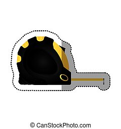 sticker tape measure icon tool with black body