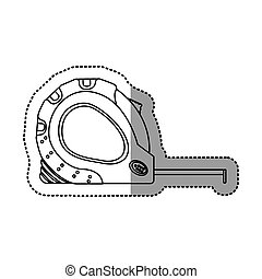sticker outline tape measure icon tool