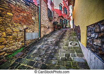 narrow backstreet in Montecatini, Italy