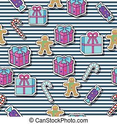 Gift Boxes, Candy Sticks, Gingerbread Boy Seamless - New...