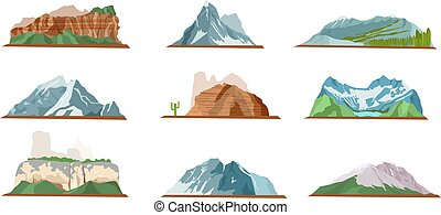 Mountain Icons Set. Various Types of Pile Hills - Nature...