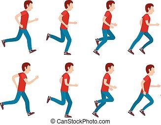 Running Man Animation Sprite Set. 8 Frame Loop.