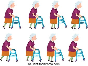 Old Woman with Rolling Walker Simple Cartoon Style -...