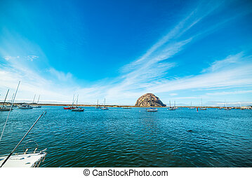 blue sky over Morro Bay, California