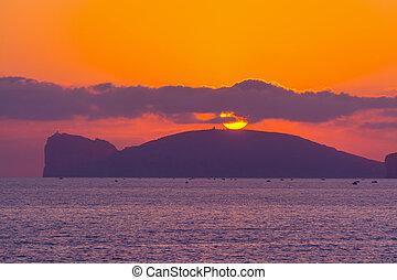Pink sunset in Capo Caccia, Sardinia