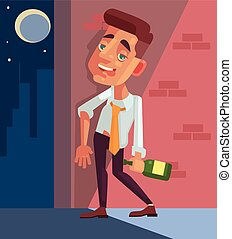 Drunk office worker businessman character. Vector flat...