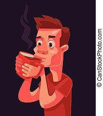 Morning coffee. Sleepy man character. Vector flat cartoon...