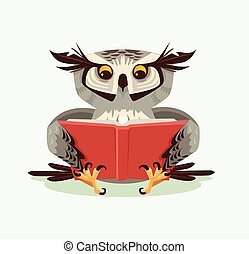 Professor wise owl character reading book. Vector flat...