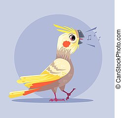 Parrot character sings song. Vector flat cartoon illustration
