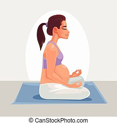 Happy pregnant woman character doing yoga. Vector flat cartoon illustration