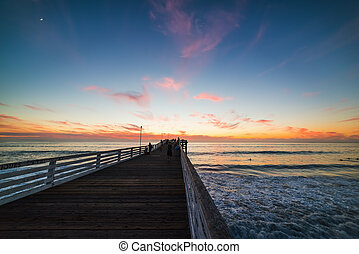 Pink sunset in Pacific beach, San Diego