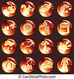 Set of autumn icons - 16 high-gloss icons for autumn...