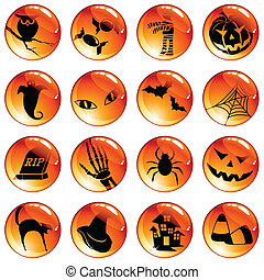 Set of 16 orange halloween buttons - Collection of...