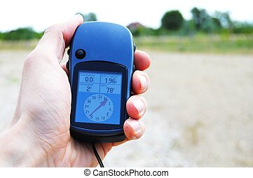 gps navigation or geocaching concept with copyspace
