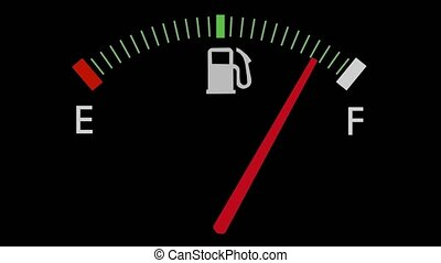 Fuel gauge full-empty-full car dashboard meter