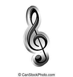 sign music treble clef icon relief