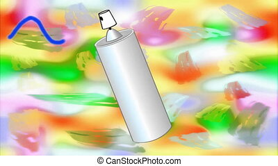 Happy holi animated banner with spray and headline composed...