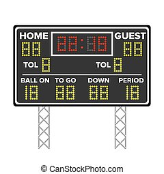 American Football Scoreboard. Sport Game Score. Digital LED Dots. Vector Illustration. Time, Guest, Home.
