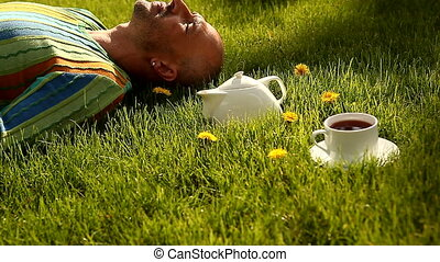 Tea - A cup of tea on the grass locked down, HD1080 - 30p
