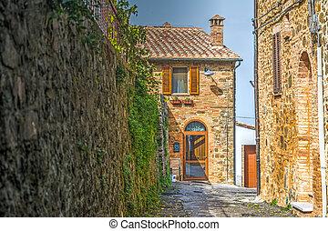 Narrow backstreet in Montalcino, Italy