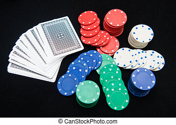 casino chips for play in card game , gambling